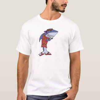 Funny Shark Hippy at the Beach T-Shirt