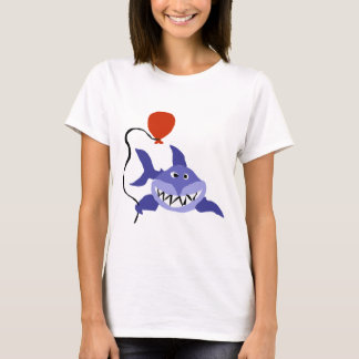 Funny Shark Holding Red Balloon T-Shirt