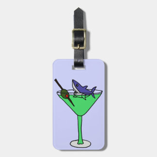 Funny Shark in Green Martini Glass Luggage Tag