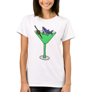 Funny Shark in Green Martini Glass T-Shirt