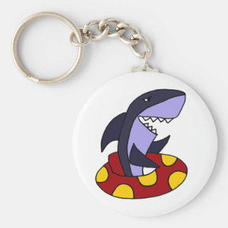 Funny Shark in Red and Yellow Inner Tube Basic Round Button Keychain