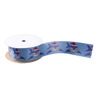 Funny Shark in Santa Hat Christmas Ribbon Satin Ribbon