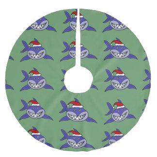Funny Shark in Santa Hat Christmas Tree Skirt