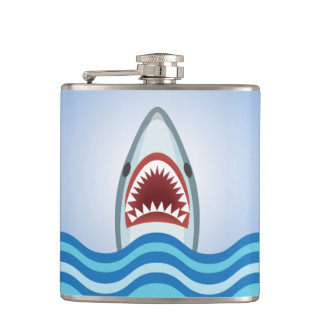 Funny Shark Leaping from Water Jaws Wide Open Hip Flask