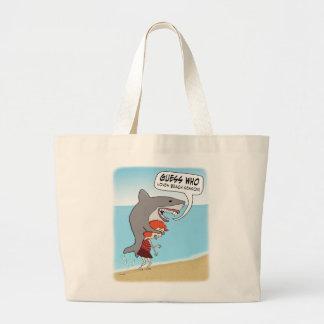 Funny Shark Loves Beach Season Large Tote Bag