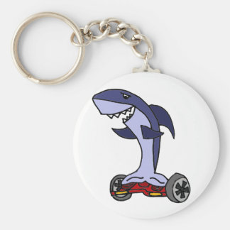 Funny Shark on Red Hoverboard Basic Round Button Keychain