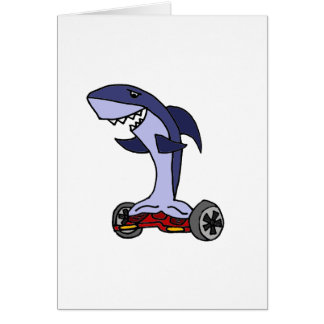 Funny Shark on Red Hoverboard Card