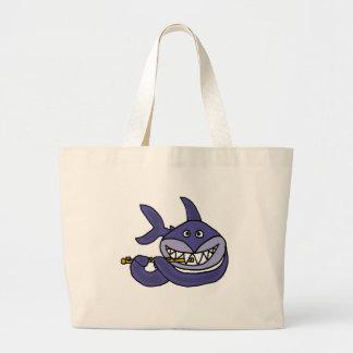 Funny Shark Playing Flute Cartoon Tote Bag
