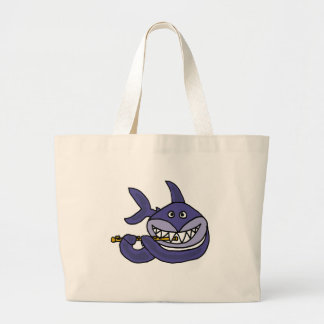 Funny Shark Playing Flute Cartoon Jumbo Tote Bag