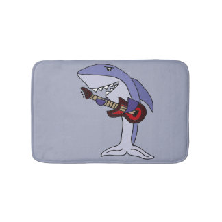 Funny Shark Playing Red Guitar Bathroom Mat