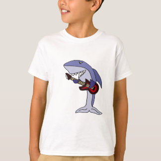 Funny Shark Playing Red Guitar T-Shirt