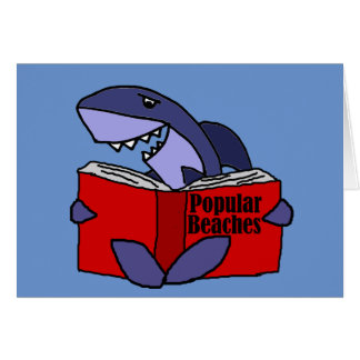 Funny Shark Reading Popular Beaches Book Card