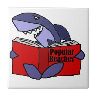 Funny Shark Reading Popular Beaches Book Ceramic Tiles