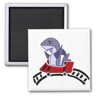 Funny Shark Riding Roller Coaster Square Magnet