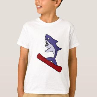 Funny Shark Snowboarding Cartoon T-Shirt
