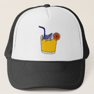Funny Shark Swimming in Orange Juice Trucker Hat