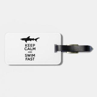 Funny Shark Warning - Keep Calm and Swim Fast Luggage Tag
