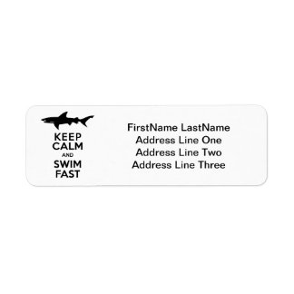 Funny Shark Warning - Keep Calm and Swim Fast Return Address Label