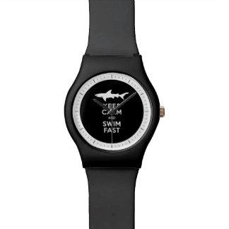 Funny Shark Warning - Keep Calm and Swim Fast Wrist Watches