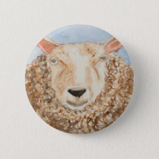 Funny Sheep animal watercolor aceo art printed on 2 Inch Round Button
