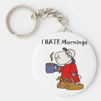 Funny Sheep Hates Mornings Cartoon Basic Round Button Keychain