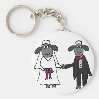 Funny Sheep Wedding Cartoon Basic Round Button Keychain