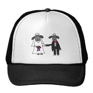 Funny Sheep Wedding Cartoon Trucker Hat