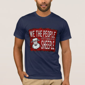 Funny Sheeple Warning Sign Dark T-Shirt