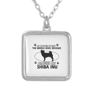 Funny shiba inus designs silver plated necklace