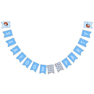 Funny shrimp seafood bunting banner