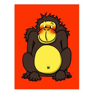 Funny shy gorilla postcard