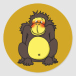 Funny shy gorilla round sticker