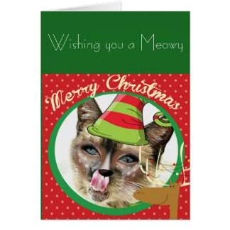 Funny Siamese cat Christmas card