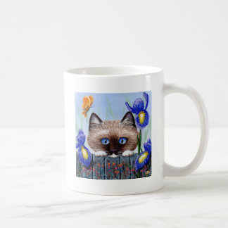 Funny Siamese Ragdoll Burmese Cat Irises Coffee Mug