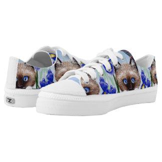 Funny Siamese Ragdoll Cat Purple Iris Low-Top Sneakers