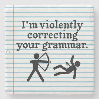 Funny Silently Correcting Your Grammar Spoof Joke Stone Coaster