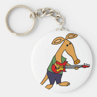Funny Silly Aardvark Playing Electric Guitar Basic Round Button Keychain