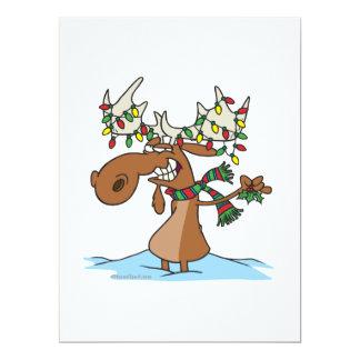 "funny silly christmas moose cartoon 6.5"" x 8.75"" invitation card"