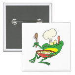 funny silly cooking chef frog cartoon buttons
