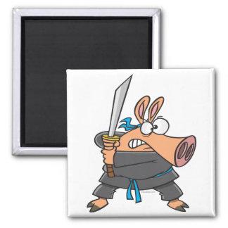 funny silly ninja karate pig piggy cartoon magnet