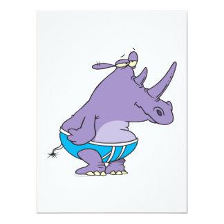 """funny silly rhino in undies briefs animal cartoon 6.5"""" x 8.75"""" invitation card"""