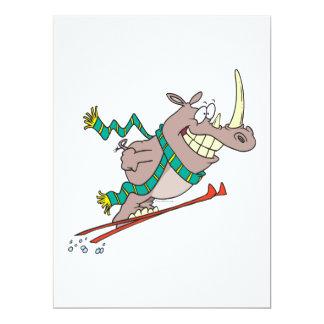 "funny silly ski jump rhino cartoon 6.5"" x 8.75"" invitation card"
