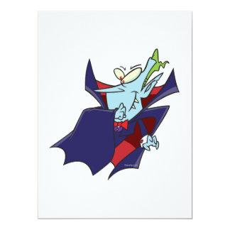 """funny silly vampire cartoon character 6.5"""" x 8.75"""" invitation card"""
