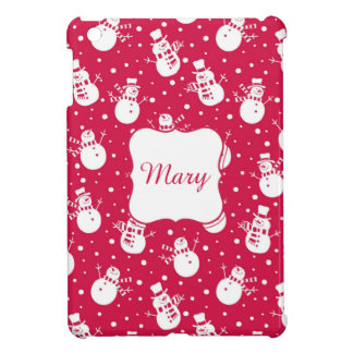 Funny similing  snowmans wearing hat and scarf cover for the iPad mini