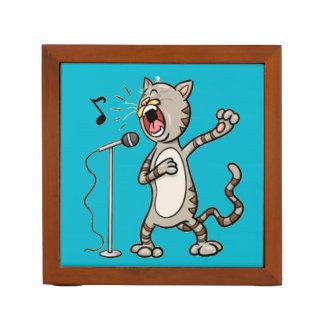 Funny Singing Cat Desk Organizer / Blue