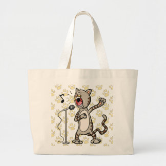 Funny Singing Cat Jumbo Tote Bag Yellow Paw Print