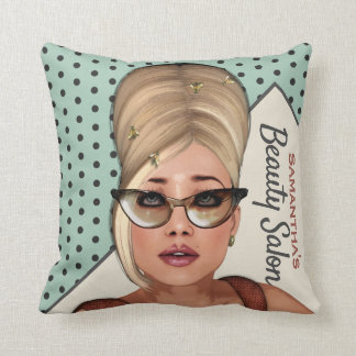 Funny Sixties Retro Beehive Hair Salon Throw Pillow