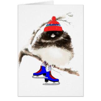 Funny Skating Chick, Cute Sport Bird Card