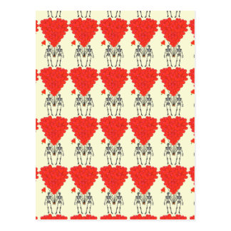 Funny skeletons and love heart Valentines Postcard