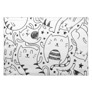 Funny sketchy dancing cats doodles pattern placemat